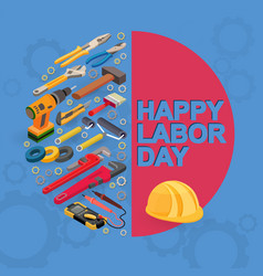 labor day isometric tools vector image