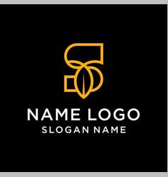 letter s leaf logo vector image