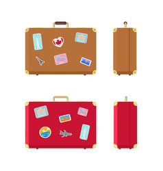 Luggage valises for traveling icons set vector