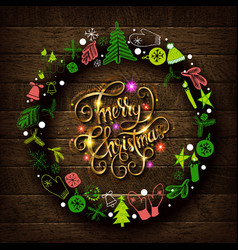 merry christmas gold text for card vector image