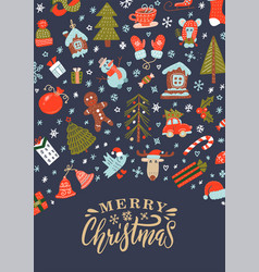 merry christmas greeting card with xmas decoration vector image