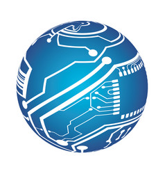microchip circuit sphere vector image