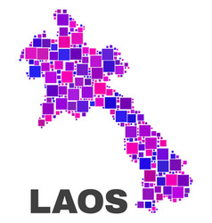 mosaic laos map of square elements vector image