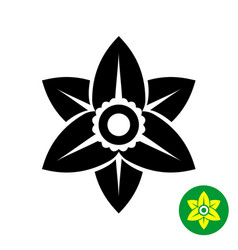 narcissus flower logo black silhouette vector image