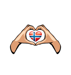 Norway flag and hand on white background vector