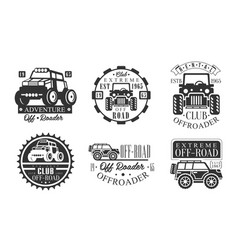 offroader extreme club retro logo set off road vector image