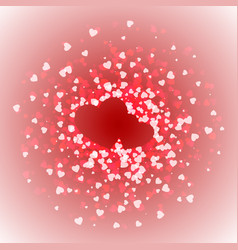 Pair of hearts lined with confetti valentines day vector