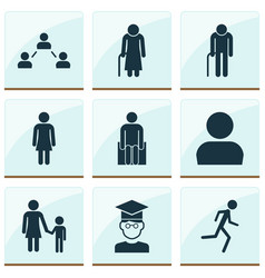 Person icons set with grandma profile student vector