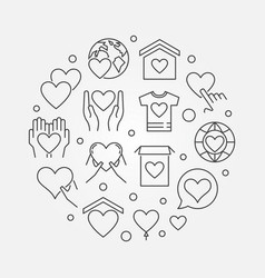Philanthropy and charity round outline vector
