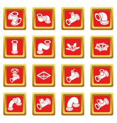 Pipeline constructor icons set red square vector
