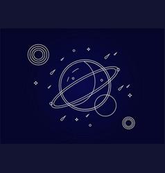 Planets contour in fantasy space vector