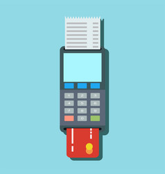 Pos terminal in flat style pos payment vector