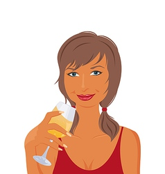 pretty girl with beverage vector image