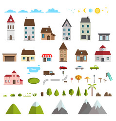 retro flat house icons and symbols set vector image