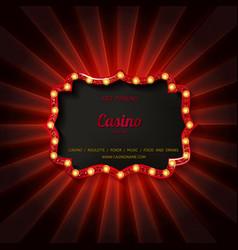 Retro light sign casino signage vector