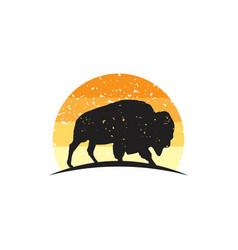 rustic bison logo vector image