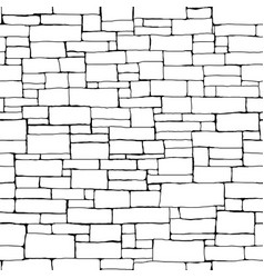 seamless brick wall background drawn with ink vector image