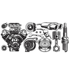 Set monochrome car repair service elements vector