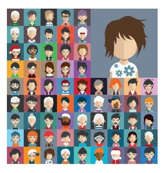 Set of people icons in flat style with faces 25 b vector image