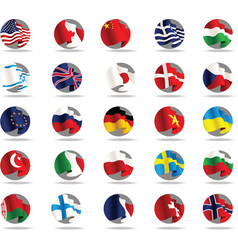 set of world flags icons vector image vector image