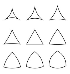 set triangles with concave and convex sides vector image