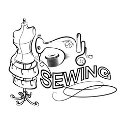 sewing and cutting silhouette vector image
