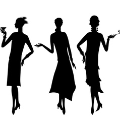 Silhouettes beautiful girl 1920s style vector