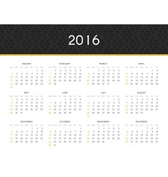 Simple modern calendar 2016 in English Ready for vector
