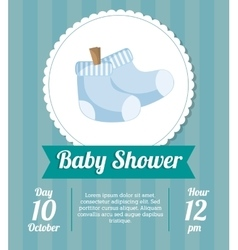 Socks of baby shower card design vector image