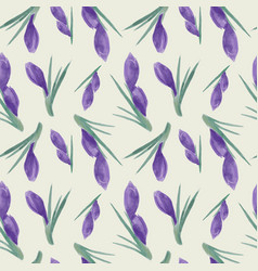 spring watercolor violet crocuses seamless vector image
