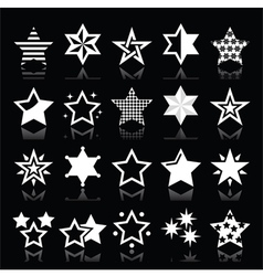 Stars white icons with reflection isolated vector image