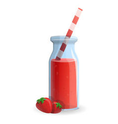 strawberry smoothie bottle icon cartoon style vector image