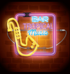 tropical music bar neon label vector image