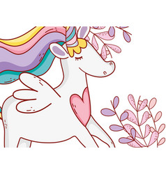 unicorn fantasy drawing cartoon vector image