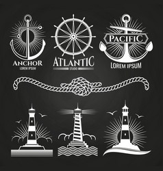 Vintage marine nautical logos and emblems with vector