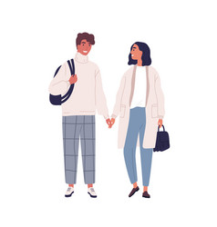 walking happy modern young people couple in love vector image