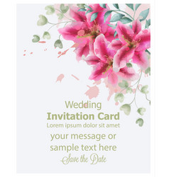 wedding invitation lily flowers watercolor vector image