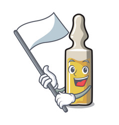 With flag ampoule mascot cartoon style vector