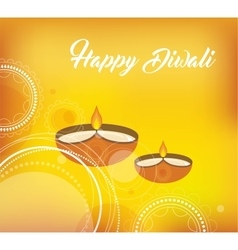 Yellow color card design for Diwali vector