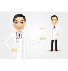 Young doctor showing something vector