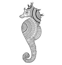Zentangle stylized seahorse vector image