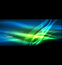 Neon blue elegant smooth wave lines digital vector