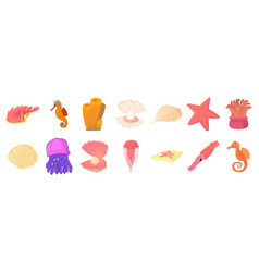 sea creature icon set cartoon style vector image