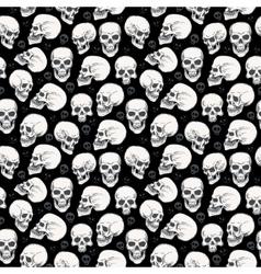 Skull Halloween seamless monochrome pattern vector image vector image