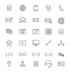 30 line contact icons vector image