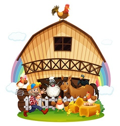 A farm with farm animals vector image