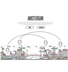 air travel to amsterdam poster in linear style vector image