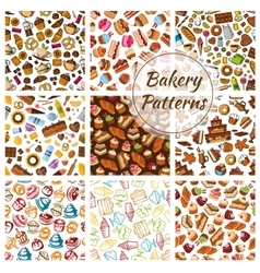 Bakery bread pastry patisserie sweets patterns vector image vector image
