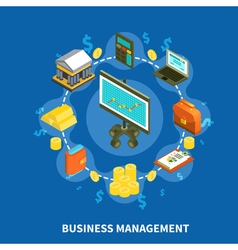 Business Management Isometric Round Composition vector image vector image