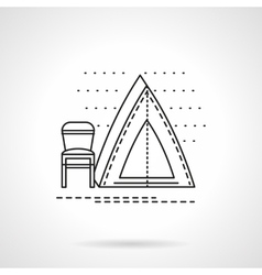 Camping tent flat line icon vector image vector image